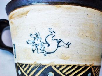 鳥獣戯画マグカップ(アンティーク調)2.JPG